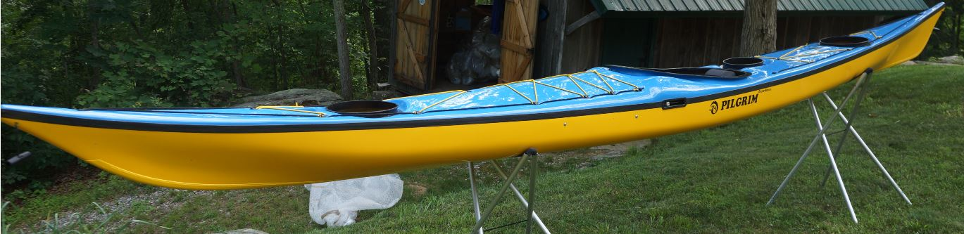 2020 Pilgrim Expedition. Blue / Black / Signal yellow. Wire Skeg. Extras – Yellow Keel Strip. Standard Lay Up.